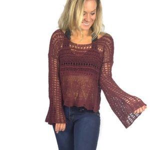 Abercrombie & Fitch Boho Crochet Open Knit Sweater